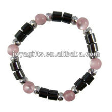 Magnetic Hematite Cat's Eye Beaded Bracelet 7.25""