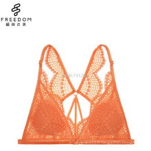 Sexy nouvelle conception backcross dentelle doublée de bralette de lingerie triangle