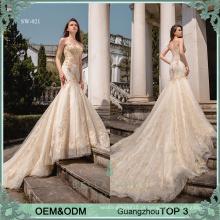 Vestido de casamento sexy vestido de novia China Vestido de noiva de peixe com renda dourada Vestido de noiva com contas pesadas