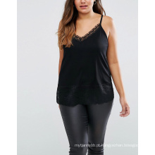 Costela leve com guarnição do laço Sexy Fashoin Oversize Women Top