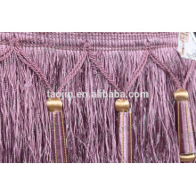 Purple color fashion brush fringe for curtain manufacturer