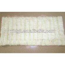 Plaque en fourrure de lapin rex de couleur blanche naturelle de qualité supérieure