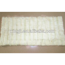 Top quality natural white color rex rabbit neck fur plate