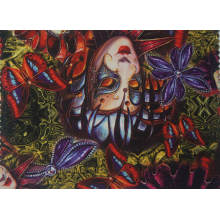 Tissu de papillon imprimé par polyester avec le tissu tricoté