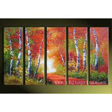 Xiamen Maple Leaf Tree Handmade Wholesale Oil Paintings for Decoration