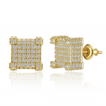 Iced Out Square Stud Earring for Men and Women 18k Gold plated Hypoallergenic   Hip Hop Cool Boys Jewelry