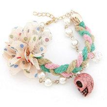 Handmade Skull Bracelets With Fabric Flower/Imitation Pearl Bracelets Jewelry Wholesale FB19