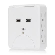 15A 6 prises secteur avec chargeur mural double USB 2.1A