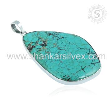 Heavenly Sky Sea Turquoise Gemstone Jóias Pingente Atacado Jóias de Prata