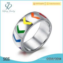 Anillos de plata coloridos de la promesa del lgbt, anillos de la promesa del hombro gay de plata