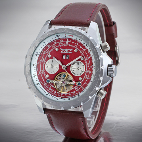 Leather OEM/ODM Tourbillon Automatic Movement Watch