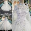 LS00169 alto pescoço de alta qualidade renda rendas mulheres noiva vestidos longo vestido de casamento branco