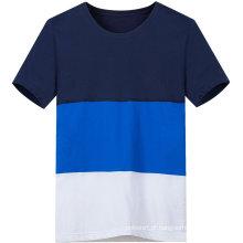 Casual personalizado três cores contraste de homens camiseta