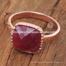 Anéis de pedras preciosas naturais de ouro rosado feito à mão