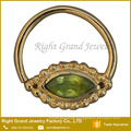 Gold Plated Peridot Crystal Septum Nose Ring Jewelry