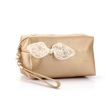 lace bow-knot female cosmetic bag PU leather makeup bag with lace bow PU cosmetic pouch bag