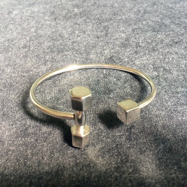 Men's Single Square Dumbbell Shaped Open Bangle Bracelets