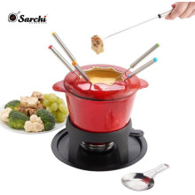 Amazon hot sale 11 Pieces Enameled Cast Iron Fondue Set 2 Quart