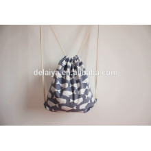 Whales Pattern Cotton Muslin Drawstring Bags Custom Backpack