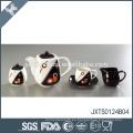 El sistema de té de la porcelana 15pcs con la línea del oro oro de la etiqueta engomada plateó la taza de té