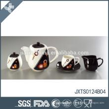 Ensemble de thé en porcelaine 15pcs avec décalque en or Ensemble de tasses à thé plaqué or