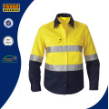 Camisa de trabajo de seguridad de alta visibilidad de manga larga de hombres 100% algodón