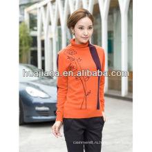 мода женщина с вышивкой 100% кашемир вязать свитер