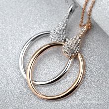2016 mais novo design maravilhoso círculo de cristal colar incrível ouro cadeia de laço artificial colar de diamantes