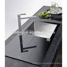 Werbe Gehärtetes Edelstahl SUS 304 Glas Topmounted single bowl Spüle
