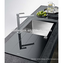 Promotional Tempered Stainless Steel SUS 304 Glass Topmounted single bowl kitchen sink
