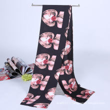 Lady Fashion Printed Satin Silk Magic Mutifunctional Cravat Scarf (YKY1091-20)