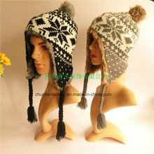 Hiver Fake Fur Hot Sale Fashion Earflap Knitted Hat Maker (KH1503-16)