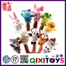 Realista de pelúcia mini fantoches de dedo animais fantoches de mão brinquedos do bebê bonito educacional made in China