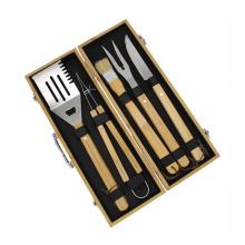 Набор инструментов для гриля на открытом воздухе с деревянной ручкой