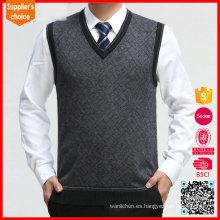 Nuevo chaleco del suéter de la manera patrones hombres chaleco de lana merino del suéter