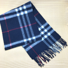 Best Quality Navy White Plaid Cashmere Scarf Men