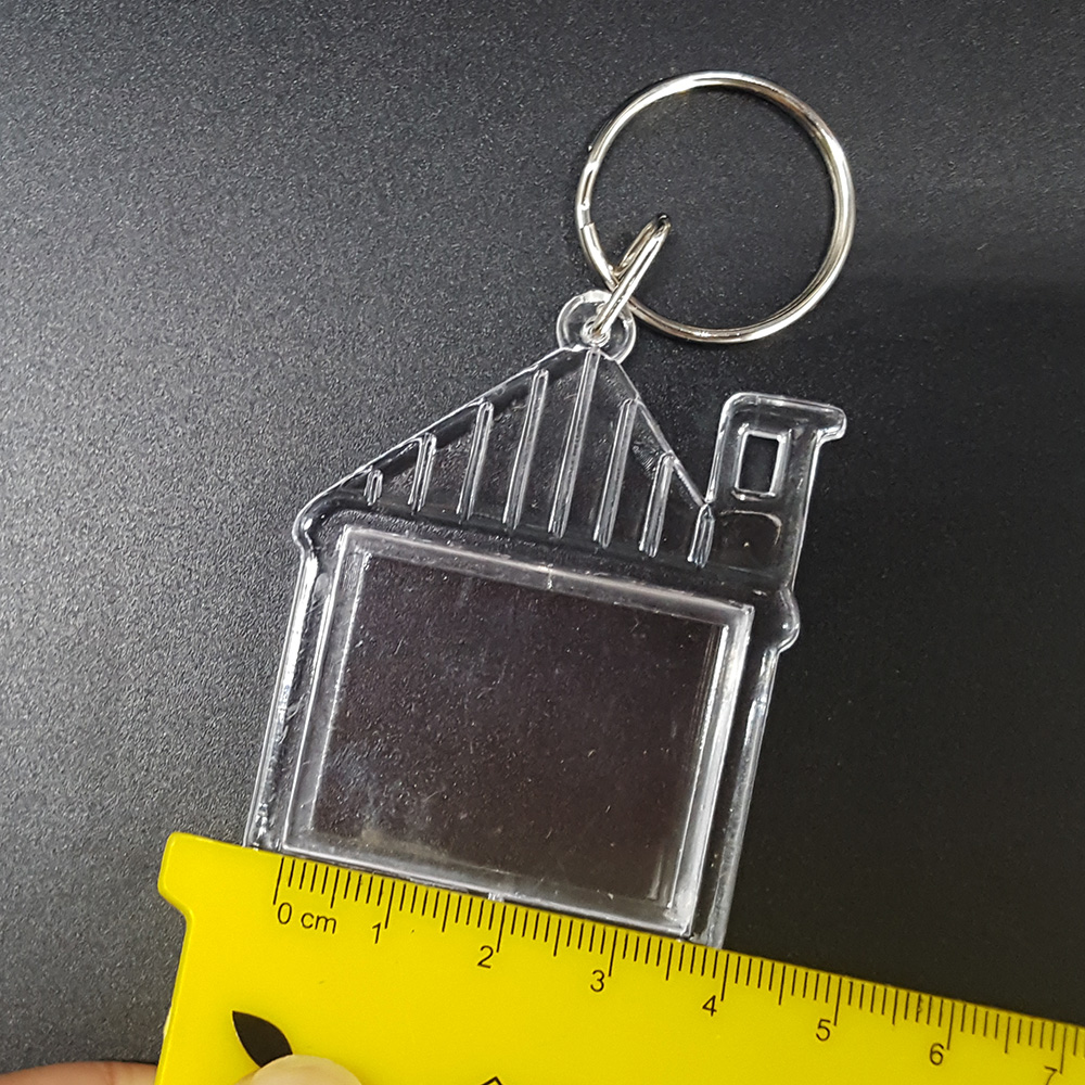 36x30mm House Shaped Acrylic Plastic Photo Key Ring