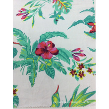 Linen/ Rayon Blended Flower Printed Fabric for Garment, Sofa, Cushion