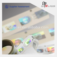 Custom logo make holographic foil stickers in roll Packaging