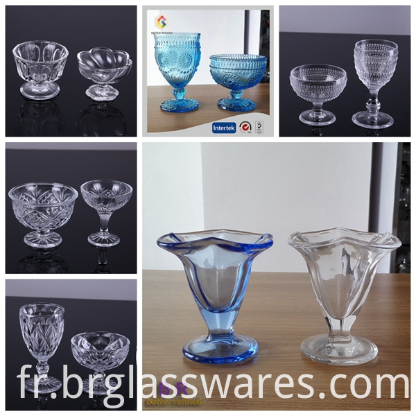 various ice cream glass cups