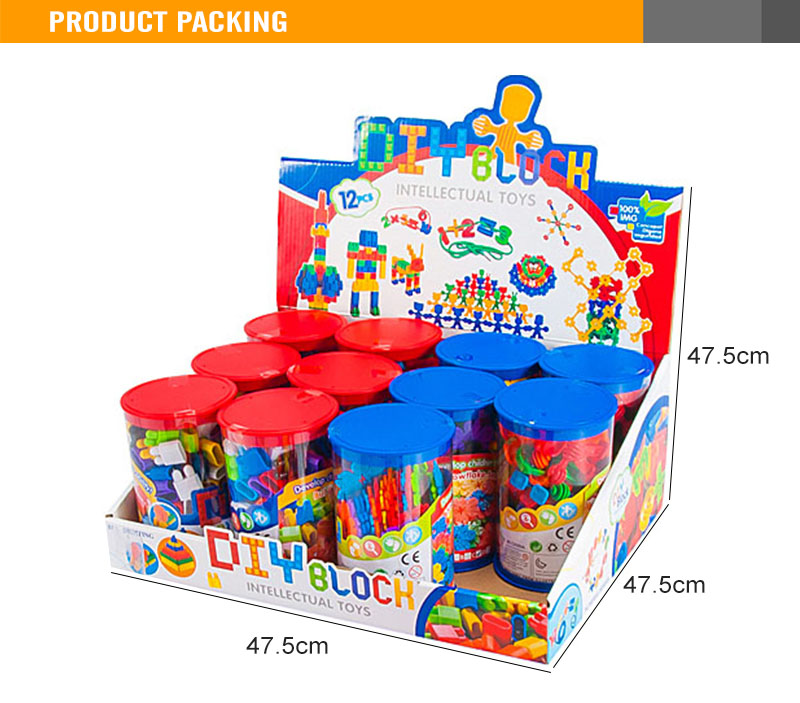 18PCS 8Color 12 Bottles Plastic Building Block Educational Kit For Kids