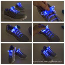 Cordón reflexivo de nylon del zapato del LED