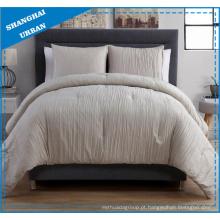 3 peças de roupa de cama de poliéster com efeito de linho creme olhar