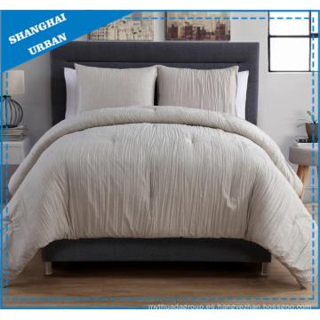 Ropa de cama de edredón de poliéster color crema crema de 3 piezas