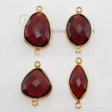 Gold Vermeil Natural Red Granat Edelstein Lünette Connector Links