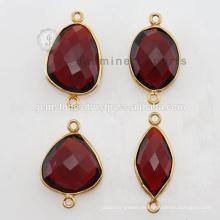 Gold Vermeil Natural Red Garnet Gemstone Bezel Connector Links
