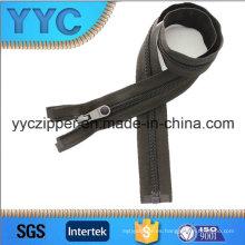 Cremallera larga de nylon de alta calidad con gris oscuro para la chaqueta