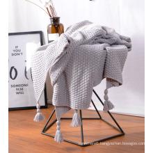Knitted Baby Cotton POM POM Blanket Fleece