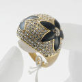 Women's hot sale fashion accessories black enamel flower decorated rhinestone woman finger ring