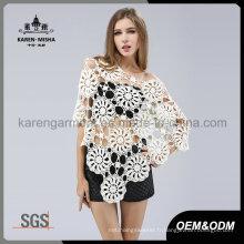La mode surdimensionnée large col Floral Crochet sans couture Poncho